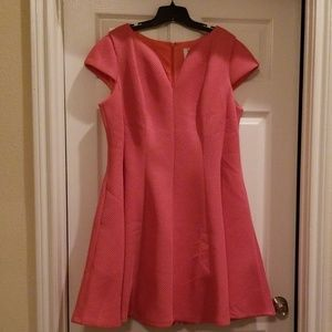 Cool Coral fit and flare dress